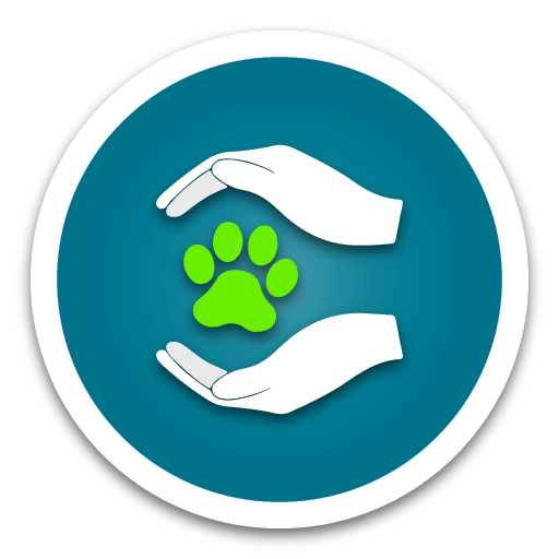 6.Animal-Shelter Blue and neon Paw Button